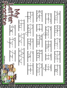 School Time Full Sheet Dotted Letter with Line Alphabet Practice Mat Dry Erase