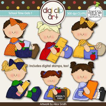 School Time Gals 1-  Digi Clip Art/Digital Stamps - CU Clip Art