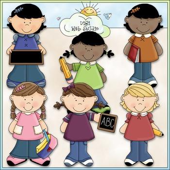 School Time Girls Clip Art - Back To School Clip Art - CU