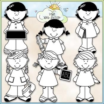 School Time Girls Clip Art - Back To School Clip Art - CU Clip Art & B&W