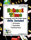School Time Language Arts File Folder Games Book