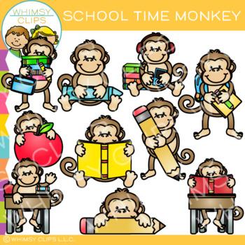 School Time Monkey Clip Art