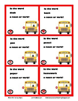 Noun and Verb Task Cards