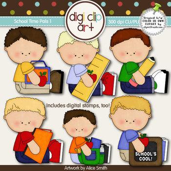 School Time Pals 1-  Digi Clip Art/Digital Stamps - CU Clip Art