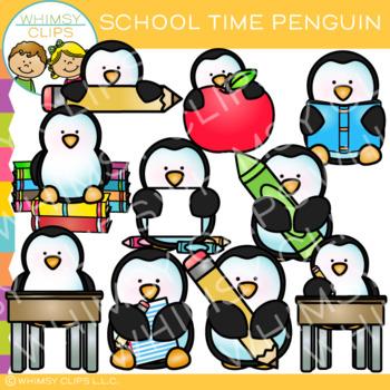 School Time Penguin Clip Art