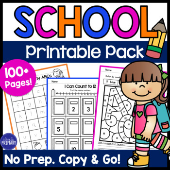 School Time Printable Pack - Copy & Go Math and Literacy Activities
