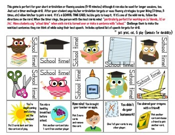 School Time Quick Drill {for articulation or fluency therapy & RTi}