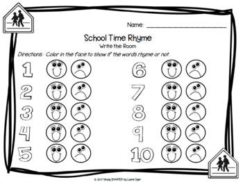 School Time Rhyme:  LOW PREP Back to School Themed Write the Room