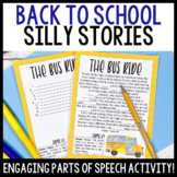 Back to School Silly Stories Activity to Practice Parts of Speech