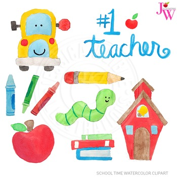 School Time Watercolor Digital Clipart, Cute Hand Painted School Art