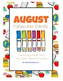 School Tools August Calendar Cards