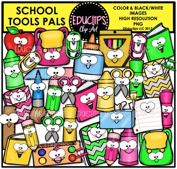 School Tools Pals Clip Art Bundle {Educlips Clipart}