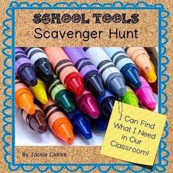 School Tools Scavenger Hunt - Back to School Activity
