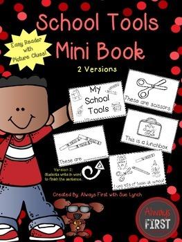 School Tools {Supplies} Mini Book Emergent Reader {Picture Clues}