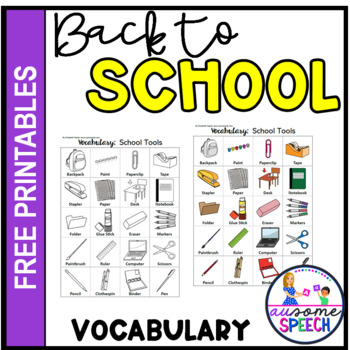 School Tools Vocabulary One Page Printable Coloring Page