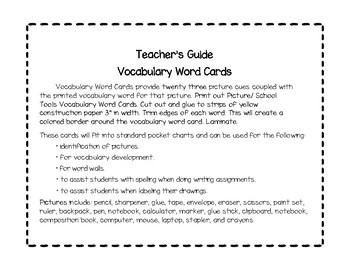 Vocabulary Word Cards-- School Tools