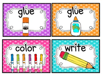 School Tools/Classroom Direction Cards {Bright Polka Dots and Stripes}