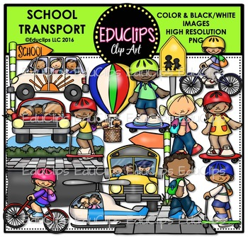 School Transport Clip Art Bundle {Educlips Clipart}