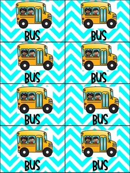 School Transportation Backpack Tags and Signs-Turquoise