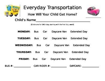 School Transportation Form