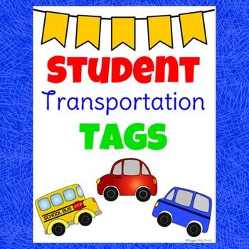 School Transportation Student Tags- EDITABLE