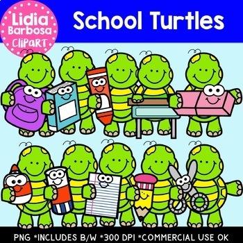 School Turtles: Digital Clipart