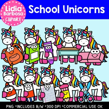 School Unicorns: Digital Clipart