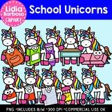 School Unicorns: Digital Clipart