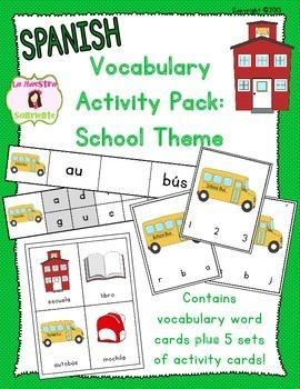 Vocabulary Activity Pack: School Theme (Spanish)