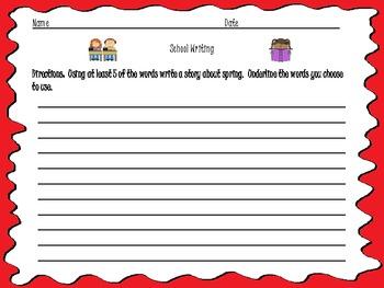 School Vocabulary Activity Pack - Common Core