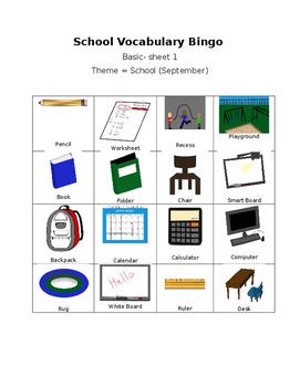 School Vocabulary Bingo