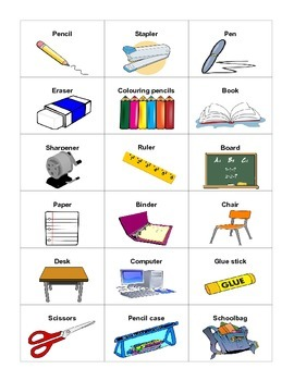 School Vocabulary - Cards