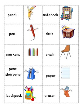 School Vocabulary Memory / Concentration for ESL/ELL