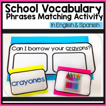 School Vocabulary Phrases Matching Activity in English & Spanish