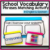 School Vocabulary Phrases Matching Activity in English & Spanish