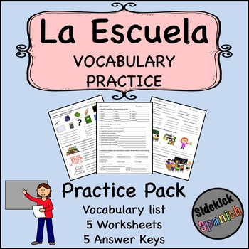 School Vocabulary Practice Worksheets (Así Se Dice Level 1, Chapter 3)