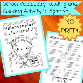 School Vocabulary Reading and Coloring Activity in Spanish