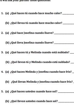 School Vocabulary - Telling Time - Information Gap (Spanish)