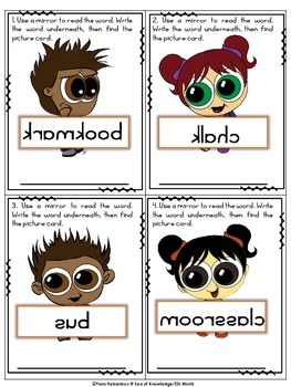 School Vocabulary {Wacky Mirror Words} FREE