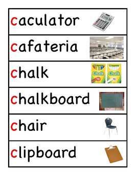School Vocabulary Word Wall Cards