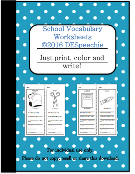 School Vocabulary Worksheets