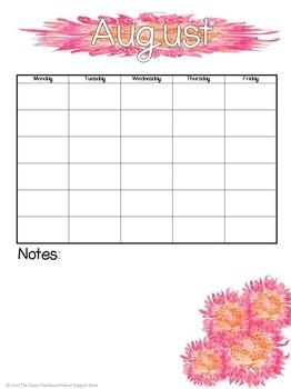 Free Blank School Week Calendar