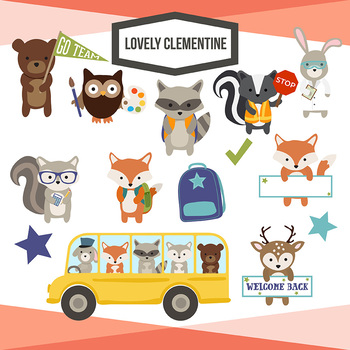 School Woodland animals clip art - back to school - Lovely Clementine