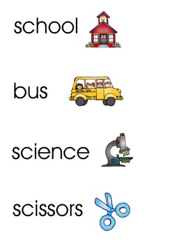School Word Wall/Vocabulary Cards