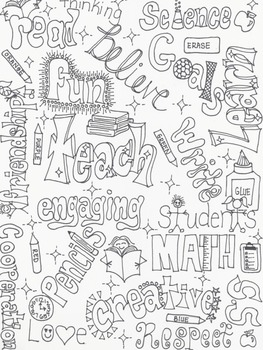 School Wordle Coloring Page