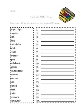 School Words-ABC order
