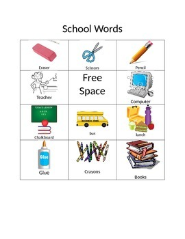School Words Bingo FREE