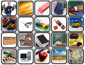 School Words Matching/Memory Game/Flashcards for Autism