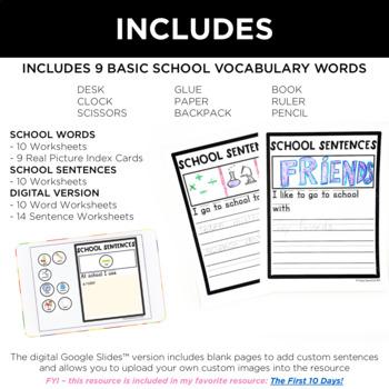 School Words (+ Sentences) Special Education