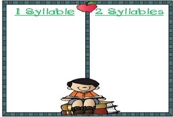 School Words Syllable Sort Literacy Center